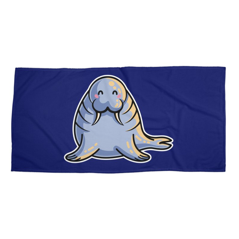 Kawaii Cute Walrus Accessories Beach Towel by Flaming Imp's Artist Shop