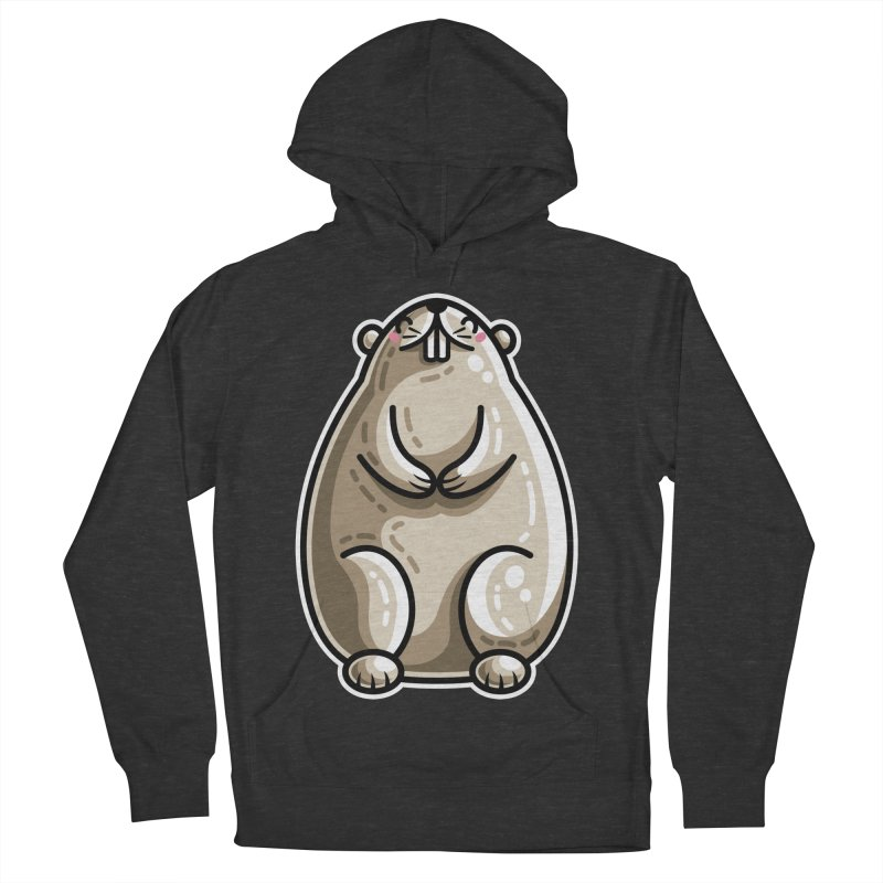 Kawaii Cute Marmot Groundhog Men's French Terry Pullover Hoody by Flaming Imp's Artist Shop