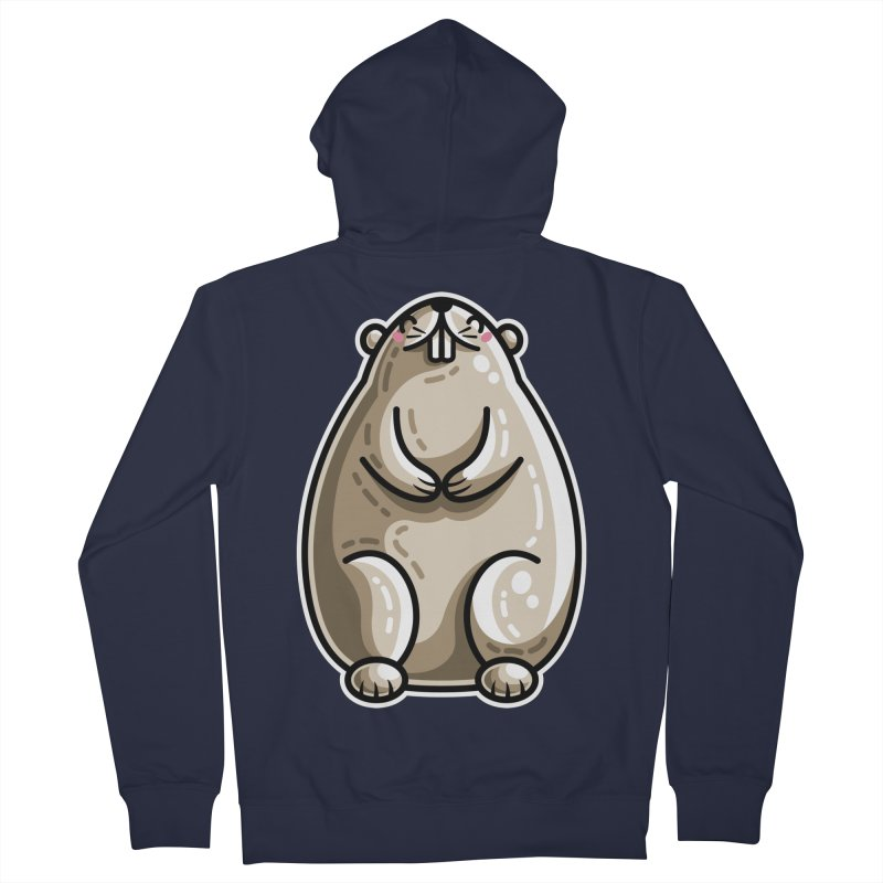 Kawaii Cute Marmot Groundhog Women's French Terry Zip-Up Hoody by Flaming Imp's Artist Shop