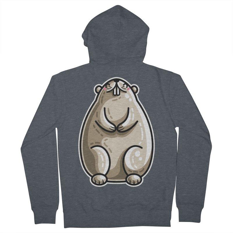 Kawaii Cute Marmot Groundhog Men's French Terry Zip-Up Hoody by Flaming Imp's Artist Shop