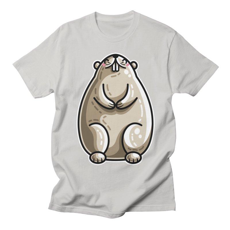 Kawaii Cute Marmot Groundhog Women's Regular Unisex T-Shirt by Flaming Imp's Artist Shop