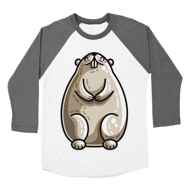 Kawaii Cute Marmot Groundhog Women's Baseball Triblend Longsleeve T-Shirt by Flaming Imp's Artist Shop