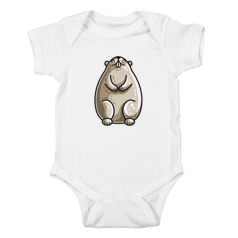 Kawaii Cute Marmot Groundhog Kids Baby Bodysuit by Flaming Imp's Artist Shop