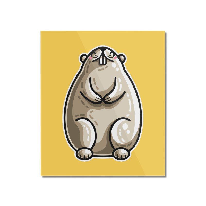 Kawaii Cute Marmot Groundhog Home Mounted Acrylic Print by Flaming Imp's Artist Shop