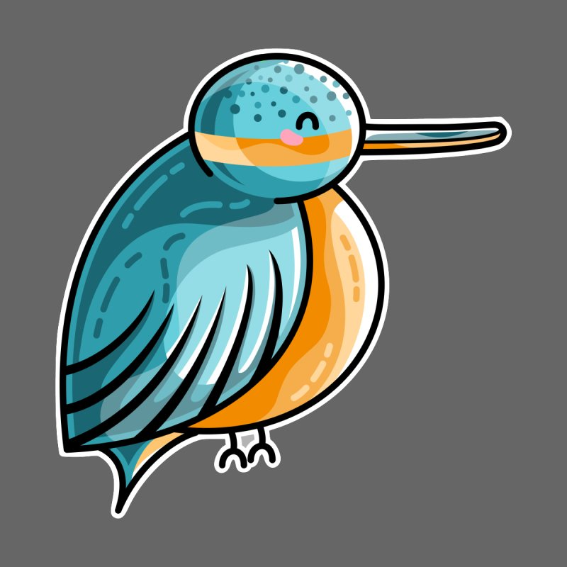 Kawaii Cute Kingfisher Accessories Skateboard by Flaming Imp's Artist Shop