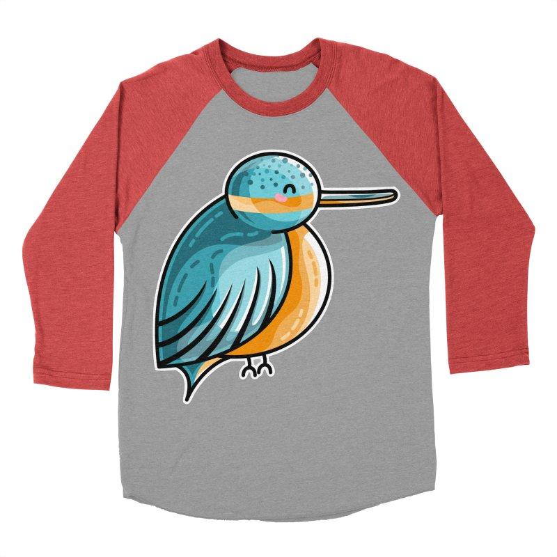 Kawaii Cute Kingfisher Women's Baseball Triblend Longsleeve T-Shirt by Flaming Imp's Artist Shop