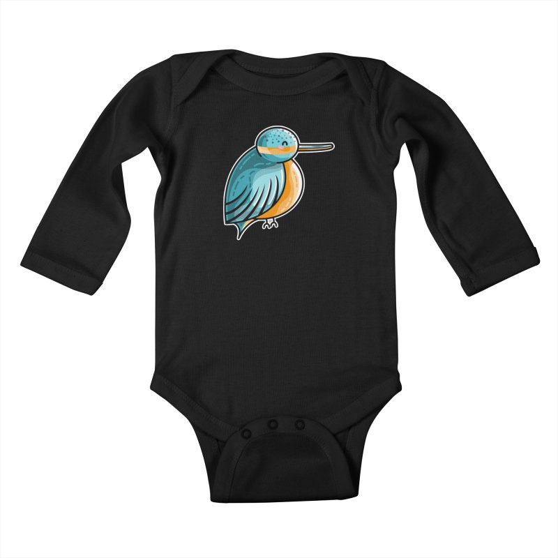 Kawaii Cute Kingfisher Kids Baby Longsleeve Bodysuit by Flaming Imp's Artist Shop