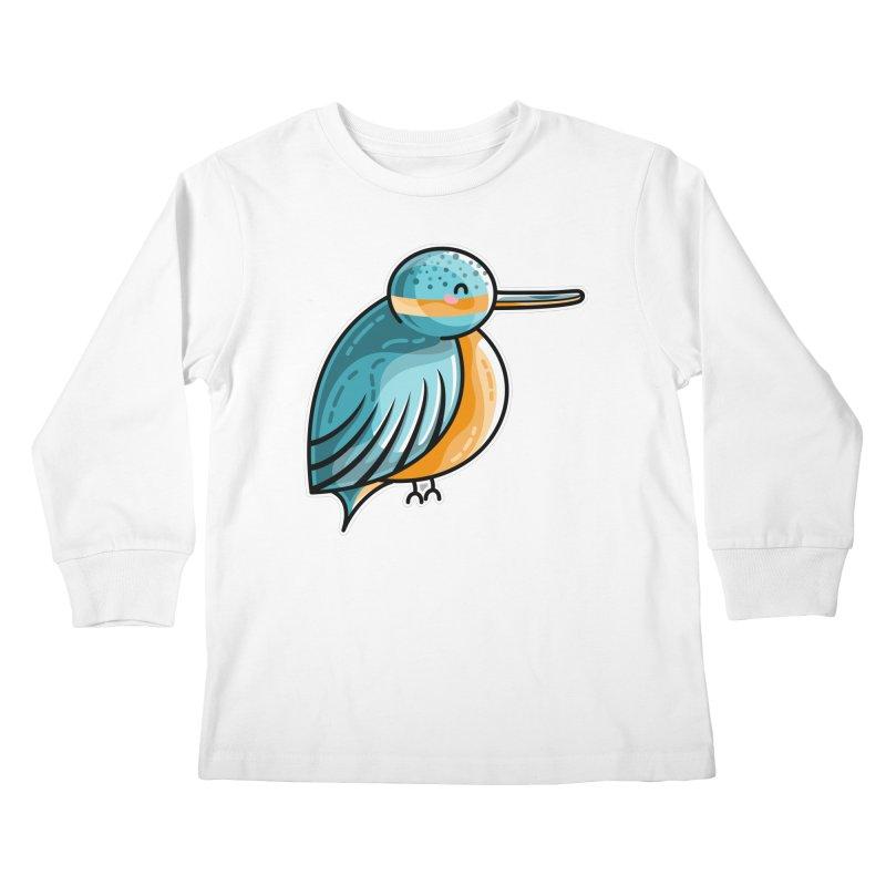 Kawaii Cute Kingfisher Kids Longsleeve T-Shirt by Flaming Imp's Artist Shop