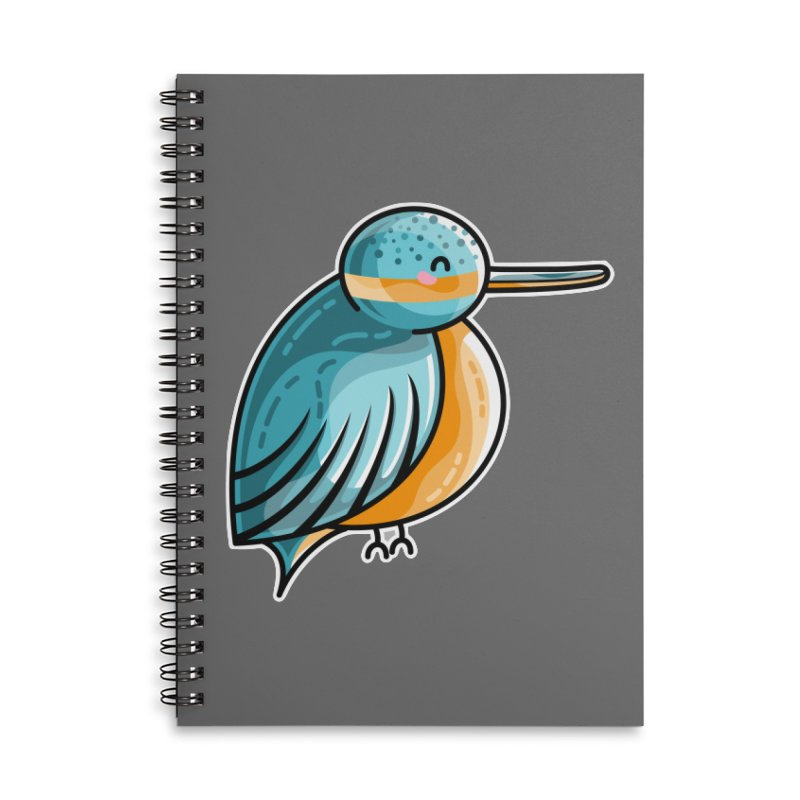 Kawaii Cute Kingfisher Accessories Lined Spiral Notebook by Flaming Imp's Artist Shop