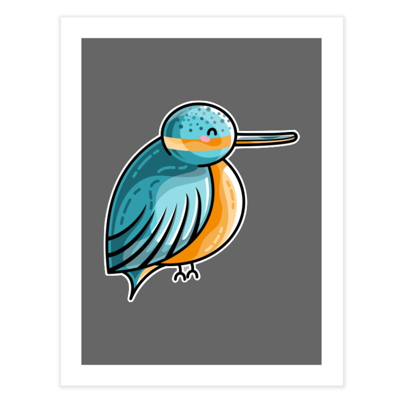 Kawaii Cute Kingfisher Home Fine Art Print by Flaming Imp's Artist Shop