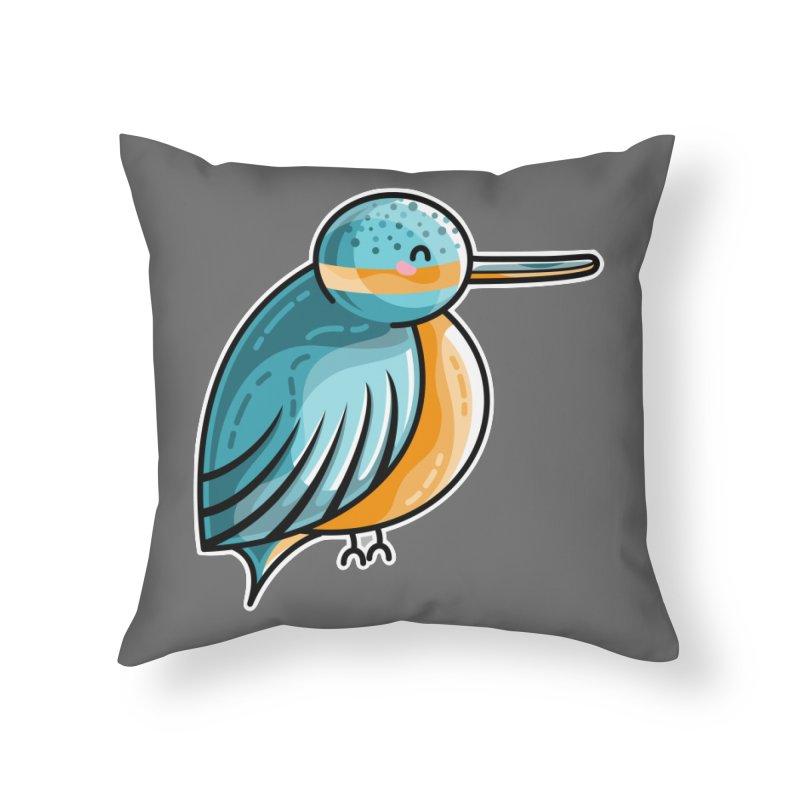 Kawaii Cute Kingfisher Home Throw Pillow by Flaming Imp's Artist Shop