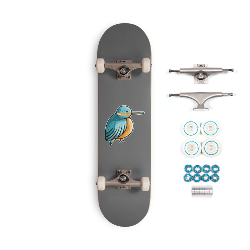 Kawaii Cute Kingfisher Accessories Complete - Basic Skateboard by Flaming Imp's Artist Shop