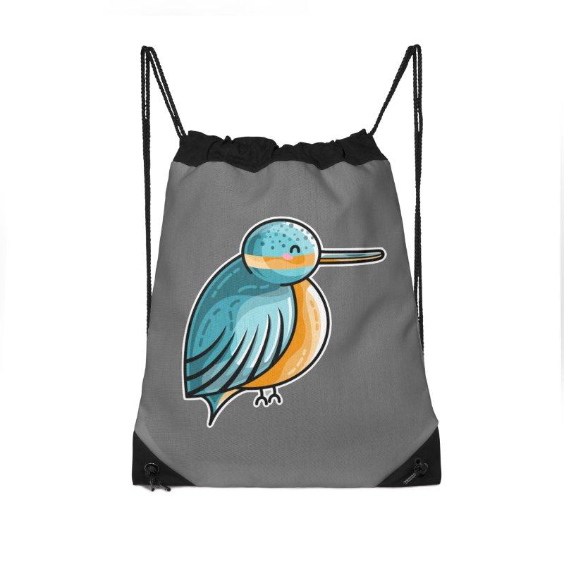 Kawaii Cute Kingfisher Accessories Drawstring Bag Bag by Flaming Imp's Artist Shop