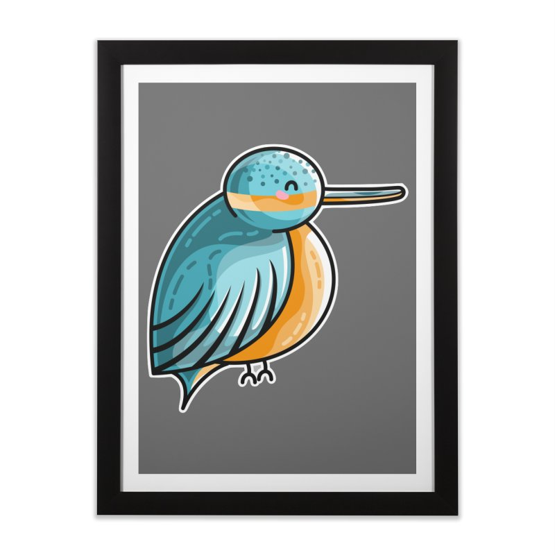Kawaii Cute Kingfisher Home Framed Fine Art Print by Flaming Imp's Artist Shop