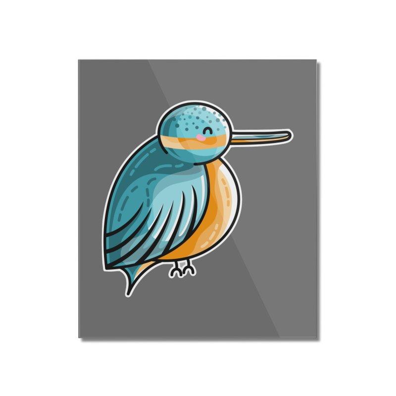 Kawaii Cute Kingfisher Home Mounted Acrylic Print by Flaming Imp's Artist Shop