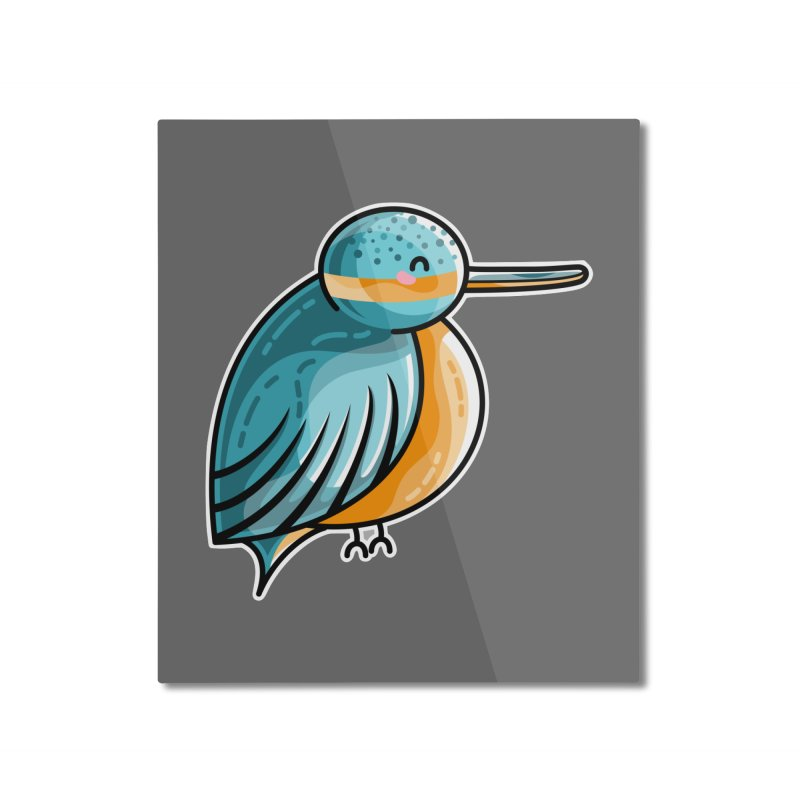 Kawaii Cute Kingfisher Home Mounted Aluminum Print by Flaming Imp's Artist Shop