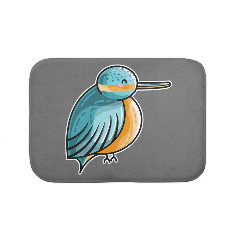 Kawaii Cute Kingfisher Home Bath Mat by Flaming Imp's Artist Shop