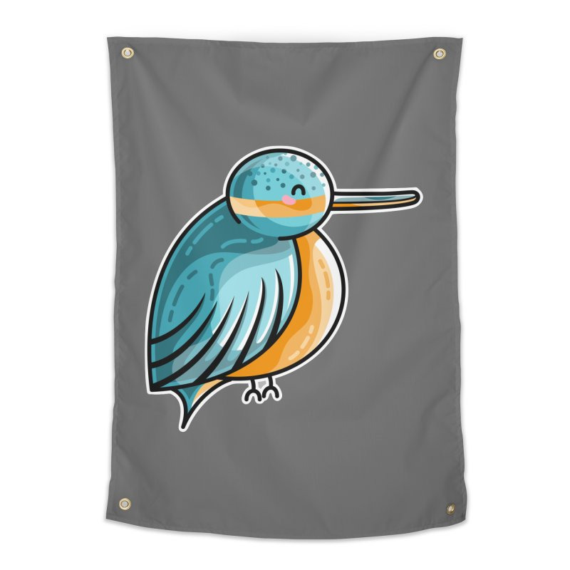 Kawaii Cute Kingfisher Home Tapestry by Flaming Imp's Artist Shop