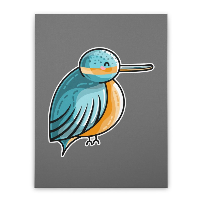 Kawaii Cute Kingfisher Home Stretched Canvas by Flaming Imp's Artist Shop