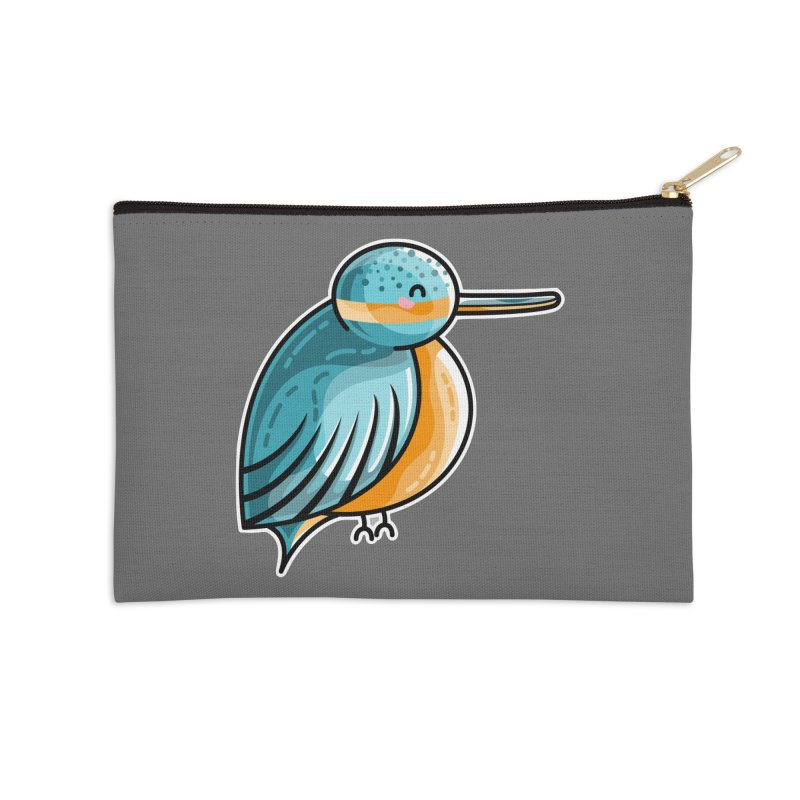 Kawaii Cute Kingfisher Accessories Zip Pouch by Flaming Imp's Artist Shop