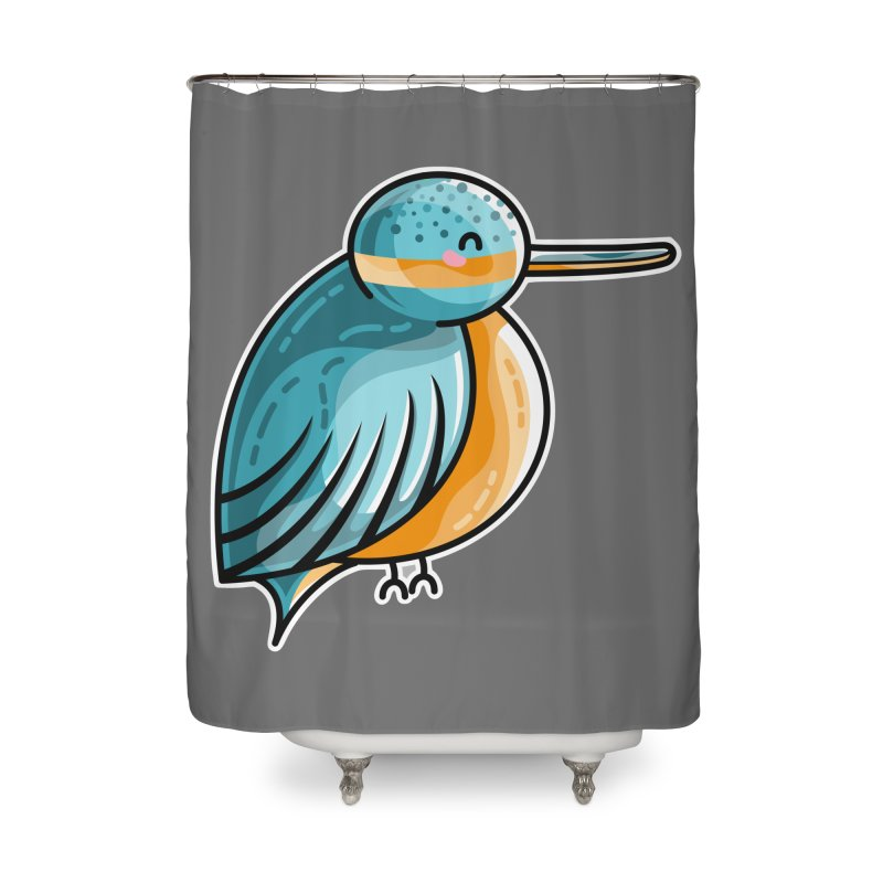 Kawaii Cute Kingfisher Home Shower Curtain by Flaming Imp's Artist Shop