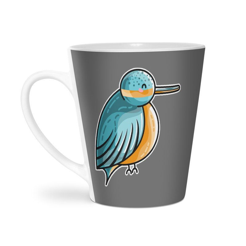 Kawaii Cute Kingfisher Accessories Latte Mug by Flaming Imp's Artist Shop