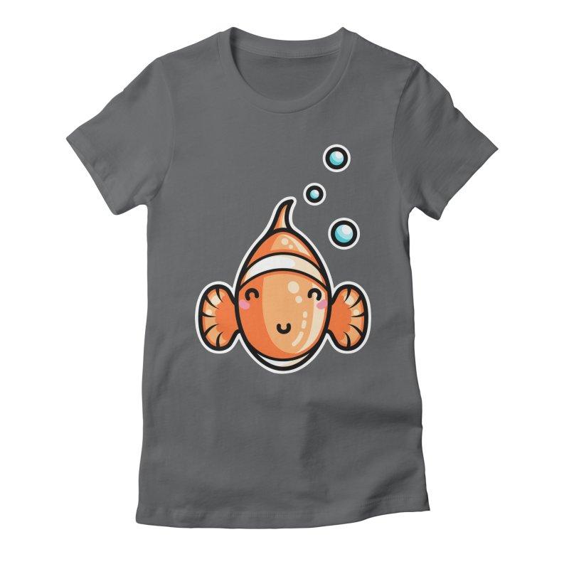 Kawaii Cute Clownfish Women's Fitted T-Shirt by Flaming Imp's Artist Shop