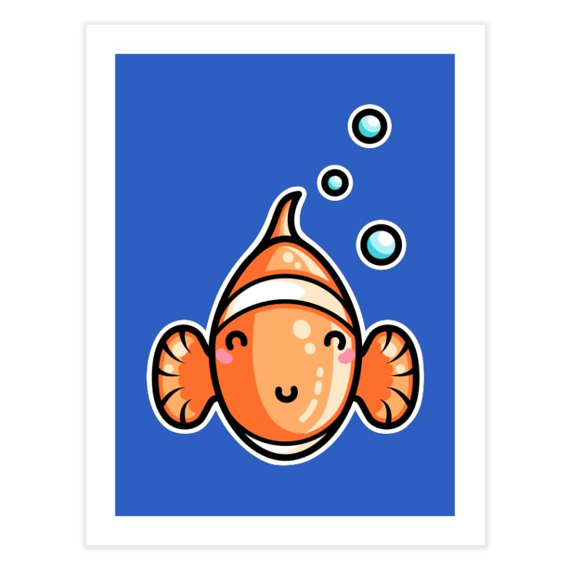 Kawaii Cute Clownfish Home Fine Art Print by Flaming Imp's Artist Shop