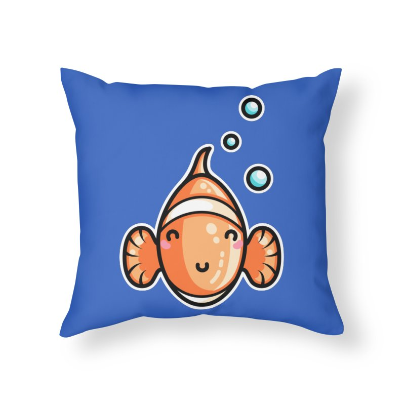 Kawaii Cute Clownfish Home Throw Pillow by Flaming Imp's Artist Shop