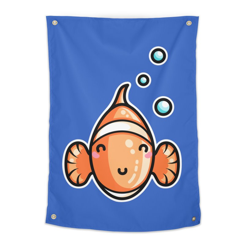 Kawaii Cute Clownfish Home Tapestry by Flaming Imp's Artist Shop