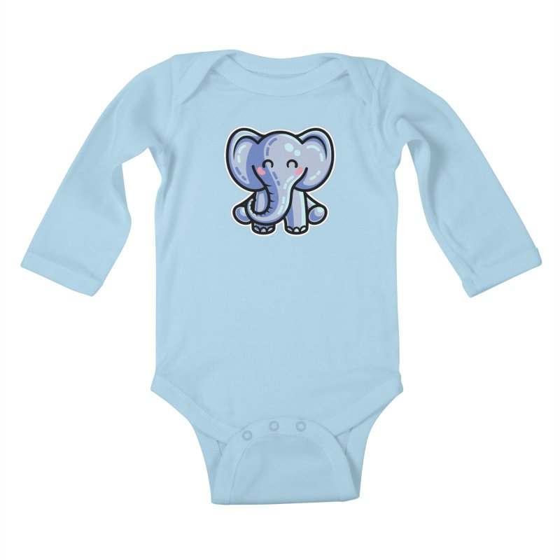 Kawaii Cute Elephant Kids Baby Longsleeve Bodysuit by Flaming Imp's Artist Shop