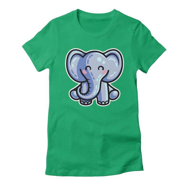Kawaii Cute Elephant Women's Fitted T-Shirt by Flaming Imp's Artist Shop