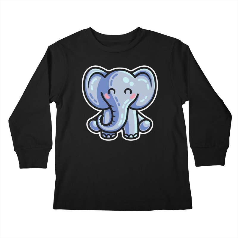 Kawaii Cute Elephant Kids Longsleeve T-Shirt by Flaming Imp's Artist Shop