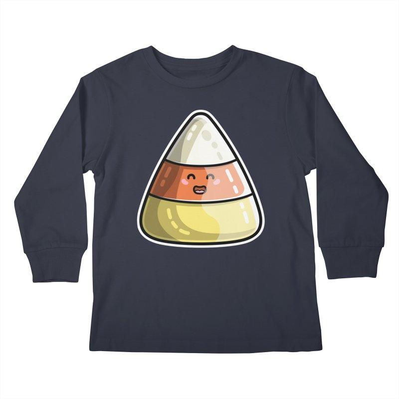Kawaii Cute Candy Corn Kids Longsleeve T-Shirt by Flaming Imp's Artist Shop
