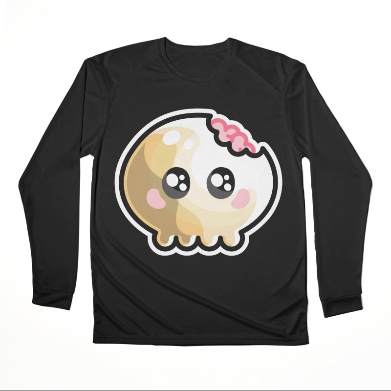 Kawaii Cute Skull and Brains Men's Performance Longsleeve T-Shirt by Flaming Imp's Artist Shop