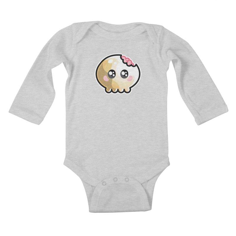 Kawaii Cute Skull and Brains Kids Baby Longsleeve Bodysuit by Flaming Imp's Artist Shop