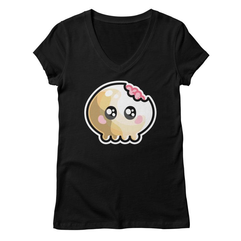 Kawaii Cute Skull and Brains Women's Regular V-Neck by Flaming Imp's Artist Shop