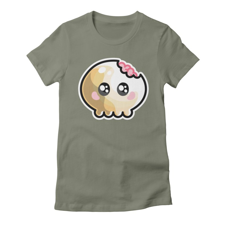 Kawaii Cute Skull and Brains Women's Fitted T-Shirt by Flaming Imp's Artist Shop