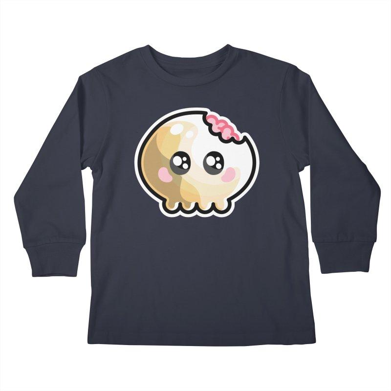 Kawaii Cute Skull and Brains Kids Longsleeve T-Shirt by Flaming Imp's Artist Shop