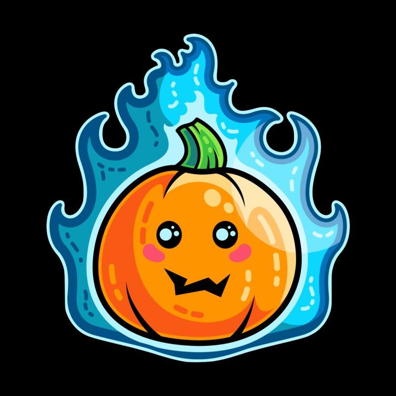 Kawaii Cute Flaming Pumpkin Men's T-Shirt by Flaming Imp's Artist Shop