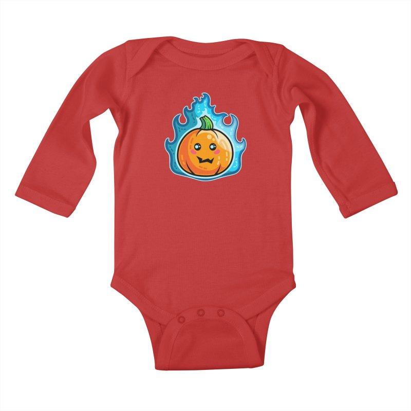 Kawaii Cute Flaming Pumpkin Kids Baby Longsleeve Bodysuit by Flaming Imp's Artist Shop