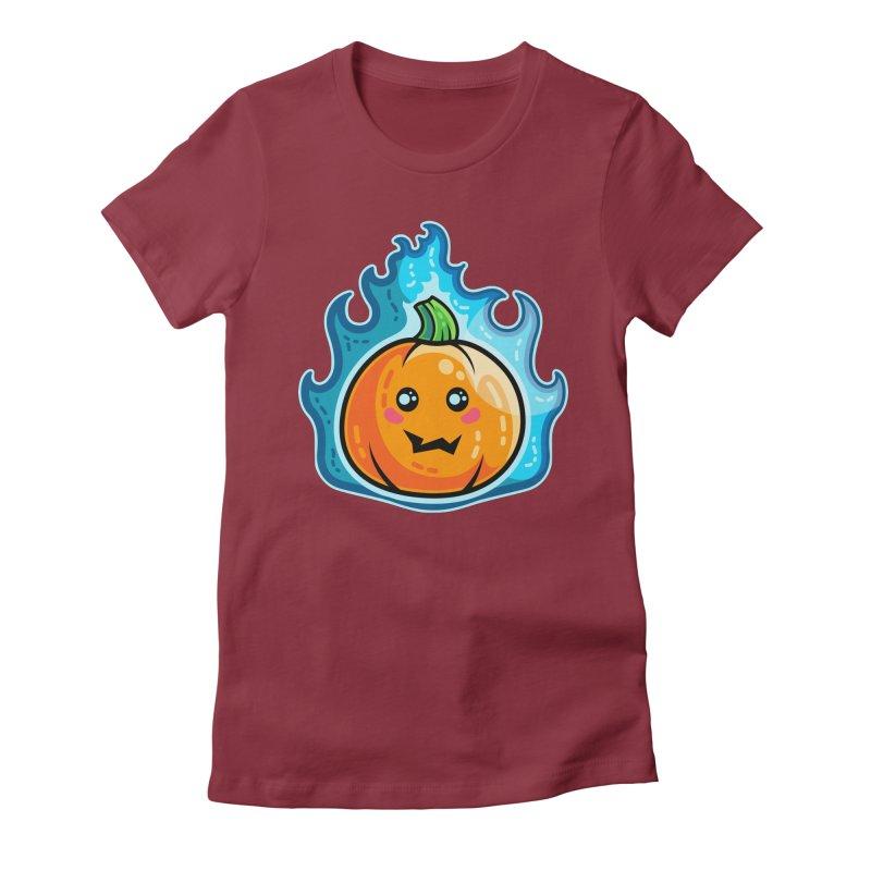 Kawaii Cute Flaming Pumpkin Women's Fitted T-Shirt by Flaming Imp's Artist Shop