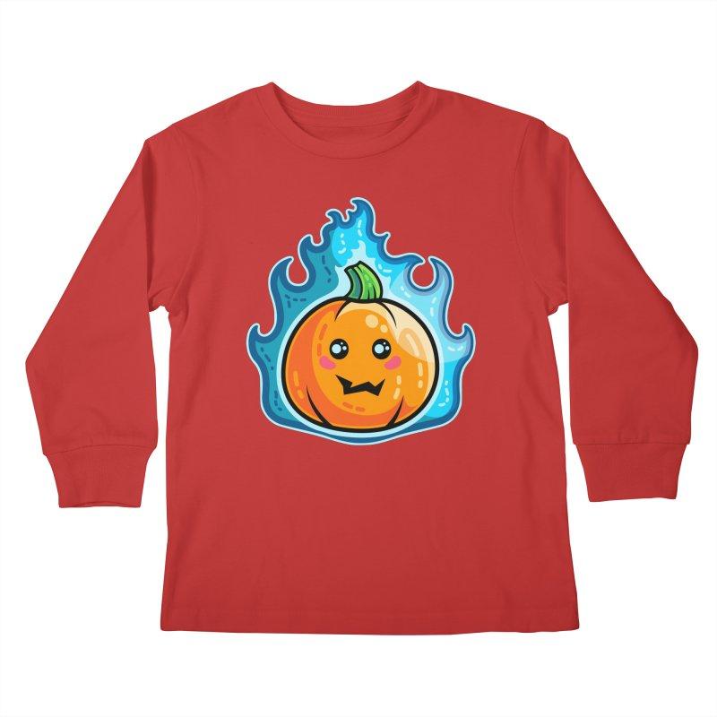 Kawaii Cute Flaming Pumpkin Kids Longsleeve T-Shirt by Flaming Imp's Artist Shop
