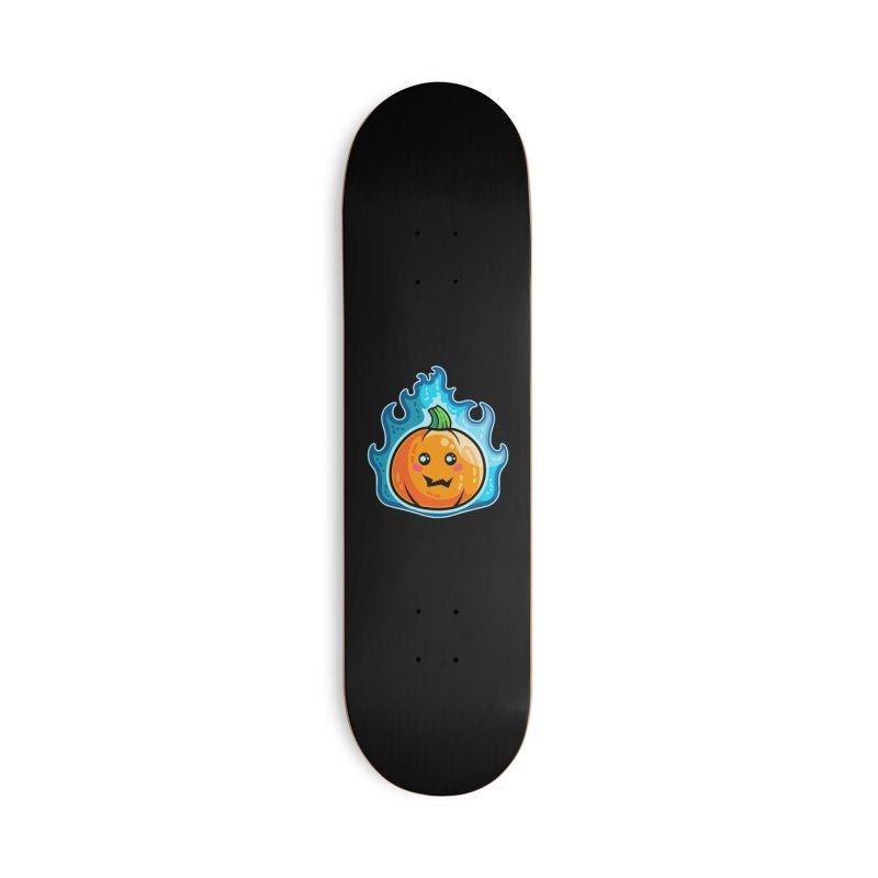 Kawaii Cute Flaming Pumpkin Accessories Deck Only Skateboard by Flaming Imp's Artist Shop