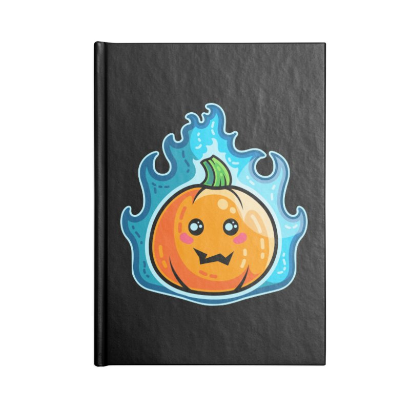 Kawaii Cute Flaming Pumpkin Accessories Blank Journal Notebook by Flaming Imp's Artist Shop