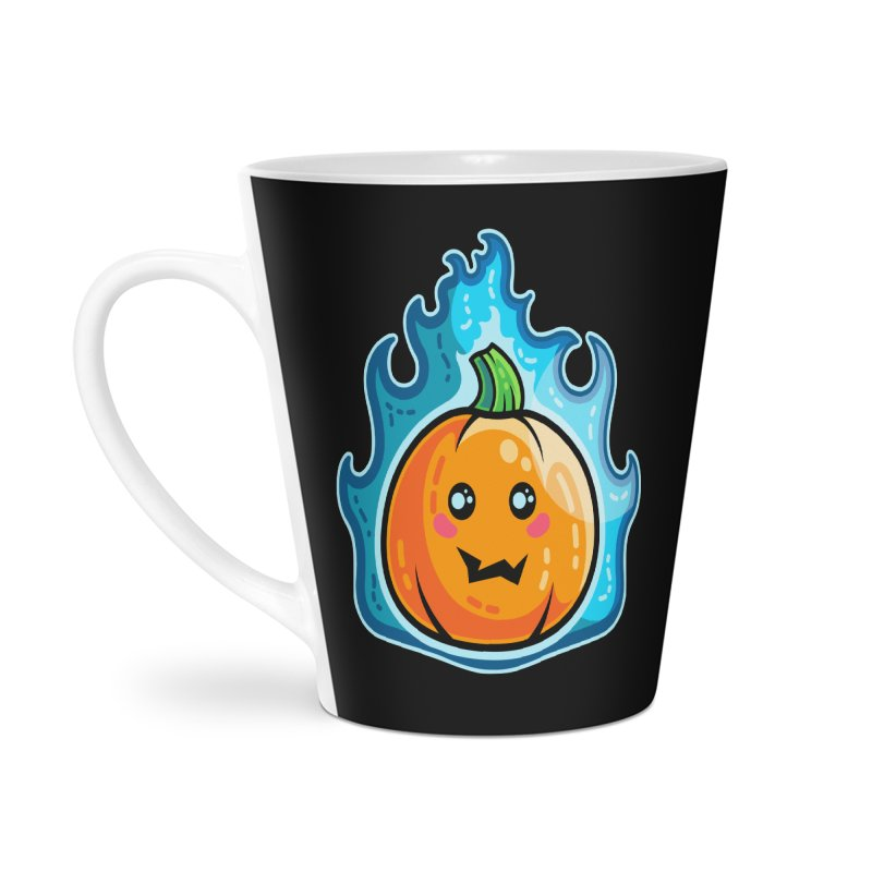 Kawaii Cute Flaming Pumpkin Accessories Latte Mug by Flaming Imp's Artist Shop