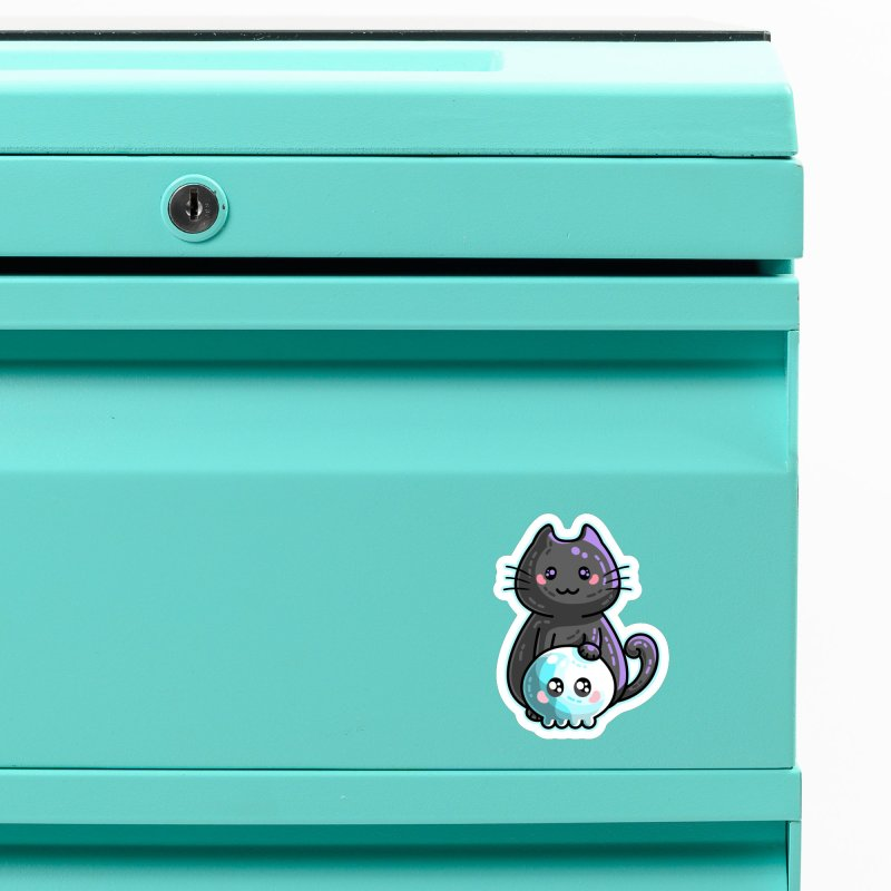 Kawaii Cute Black Cat and Skull Accessories Magnet by Flaming Imp's Artist Shop