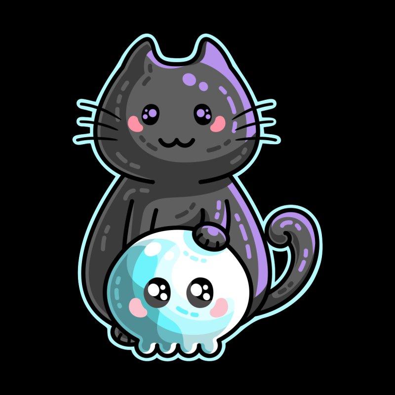 Kawaii Cute Black Cat and Skull by Flaming Imp's Artist Shop
