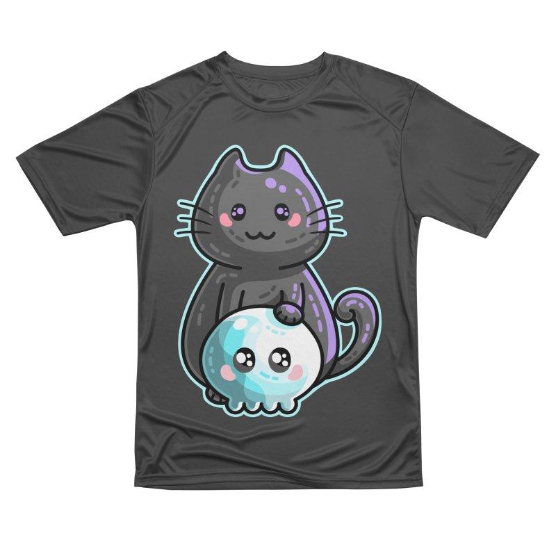 Kawaii Cute Black Cat and Skull Women's Performance Unisex T-Shirt by Flaming Imp's Artist Shop