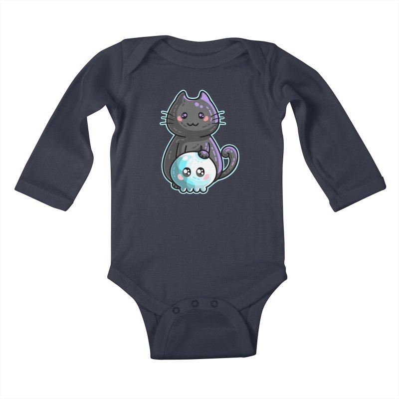 Kawaii Cute Black Cat and Skull Kids Baby Longsleeve Bodysuit by Flaming Imp's Artist Shop
